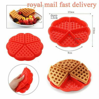 Waffles Mould Pan Cake Baked Baking Muffin Cake Chocolate Red Silicone Mold Tray