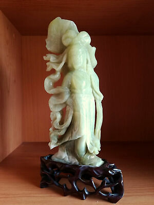 ANTIQUE CHINESE CARVED SERPENTINE JADE FAIRY FIGURE FIGURINE of GUANYIN