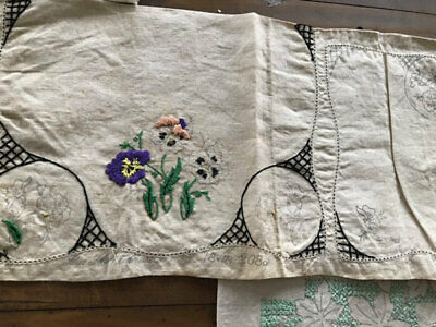 Vintage Linens To Embroider/Finish.6 Including Pansies.