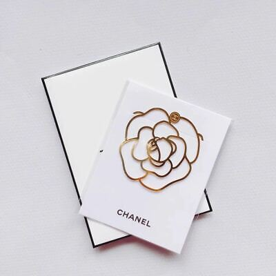 CHANEL Gold Camellia Book Mark Ornament Charm Accessories Collectible VIP GIFT