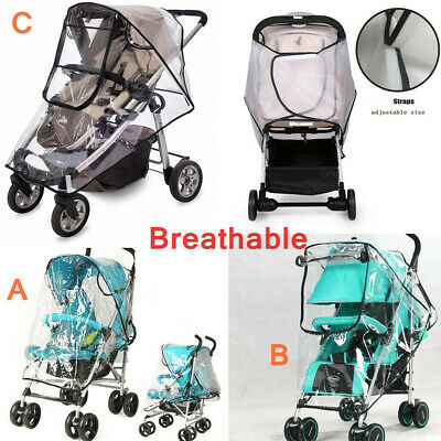 Universal Pushchair Stroller Raincover Rain Cover Pram Buggy Clear Breathable UK