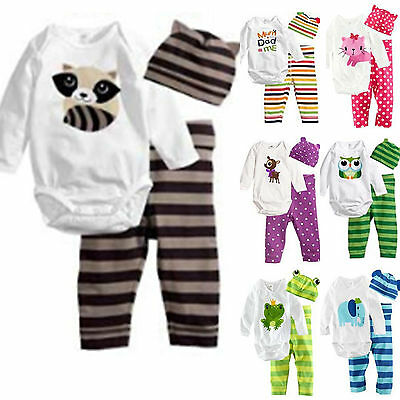 Infant Baby Boy Girl Romper Bodysuit Jumpsuit Pants Hat Clothes Outfits Set 3PCS