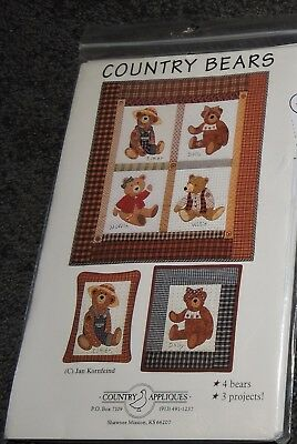 Country Bears 2 Sizes Quilt Pattern Sewing Applique Cushion 4 Teddies 3 Projects