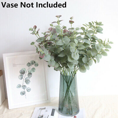 1PC Artificial Fake Leaf Eucalyptus Green Plant Silk Flowers Nordic Home Decor~