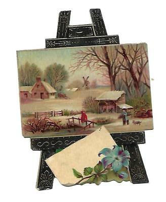 Painting Easel Cabin in the Snow  Diecut No Advertising Vict Card c1880s