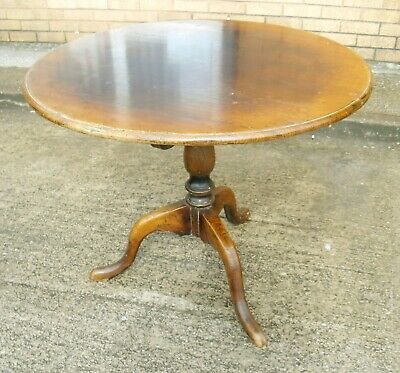 """Antique Oak Round Dining Table 36"""" Diam 29"""" Tall Turned Centre Leg (WH_8019)"""