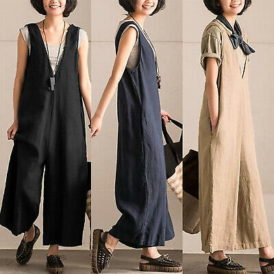 Summer Women V Neck Baggy Jumpsuits Dungaree Sleeveless Wide Leg Pants Plus Size