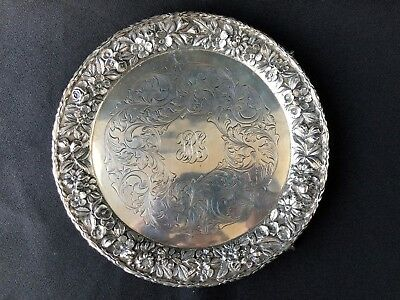 """S Kirk & Son Co 1708 Sterling Silver Repousse Salver 8"""" 1896 - 1924"""