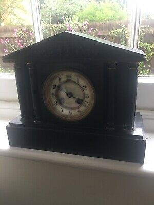 Antique French 8 Day Architectural Slate & Marble Gong Striking Mantel Clock