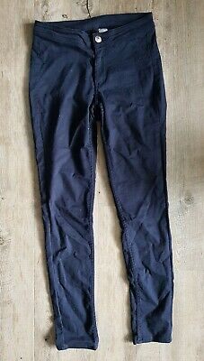 Women's Ladies Plain Dark Blue Trousers Jeans Stretchy H&M UK Size 6 Skinny Fit