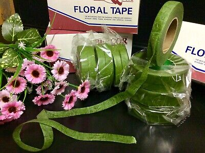 "6 Roll""Green Florist Tape"" Sticky Stretchy Corsage-Bouquets-Stems Flowers Crafts"
