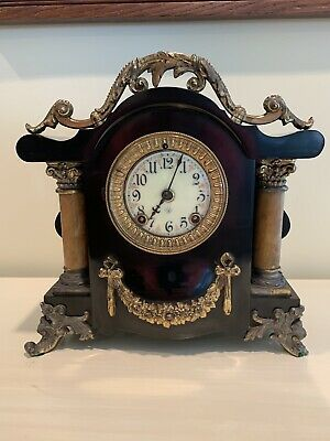 "Antique 1904 Ansonia ""Toulon"" Enameled Iron Case Mantel Clock"