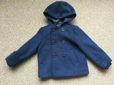Boys/Girls Mothercare Navy Blue Smart Hooded Coat 2-3 Years Button Up B74