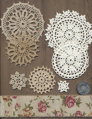Crocheted medallions Creative craft pack Jute ribbon. Junk journals, bags, toys