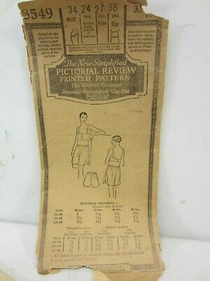 1920's or 30's Pictorial Review Ladies Brassiere & Drawers Sewing Pattern