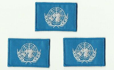 Lot 3 Ecusson Patche Thermocollant Drapeau Nations Unies Onu Dim. 4,5 X 3 Cm