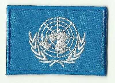 Ecusson Patche Thermocollant Drapeau Nations Unies Onu Dim. 4,5 X 3 Cm