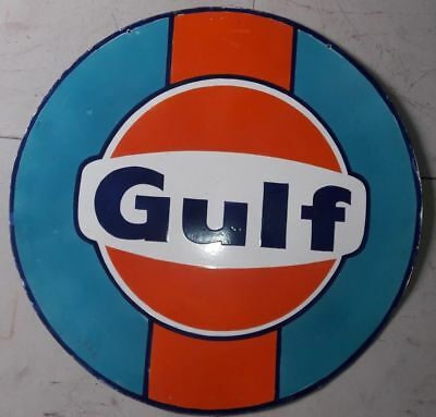 """Porcelain Gulf Enamel Sign SIZE 36"""" INCHES Round 2 Sided"""