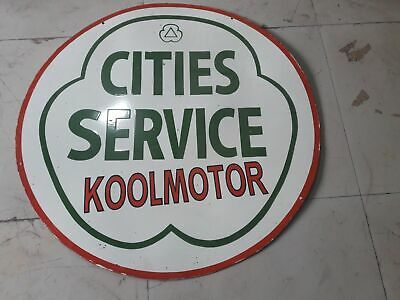Porcelain Cities Service Koolmotor Enamel Sign Size 48 Inches Double Sided