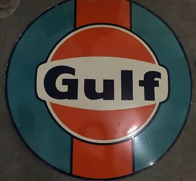 Porcelain Gulf Enamel Sign Size 48 Inches Double Sided