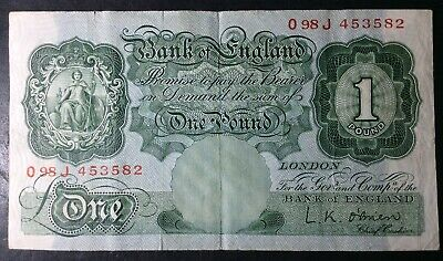 Bank Of England c.1955-62 One Pound £1 Banknote Signed L.K. O'Brien #O98J 453582
