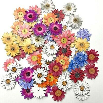 50Pcs/pack Flower Picture Wood Button 2 Holes Mixed Color Apparel Sewing DIY