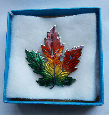 Vintage Sterling Silver And Enamel Canadian Maple Leaf Brooch, boxed