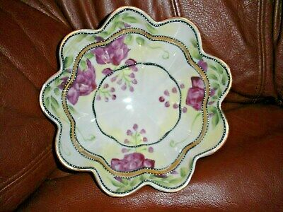 Vintage ~ Japan ~ Hand Painted Bowl ~  Scalloped edge, Footed