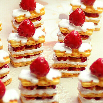 10Pcs 1:12 Cake Miniature Strawberry Cakes Food Bakery Bread For Doll House Play