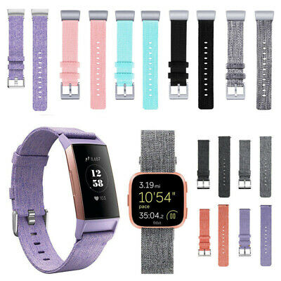Woven Canvas Fabric Watch Strap Wristband Metal Buckle For Fitbit Charge 3 Versa