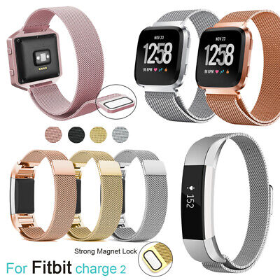 For Fitbit Charge 2 Alta HR Blaze Versa Inspire Stainless Steel Magnetic Strap