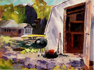 Old Shed Cabin Northern Woods Back Yard Original Oil Painting Wisconsin Whitney