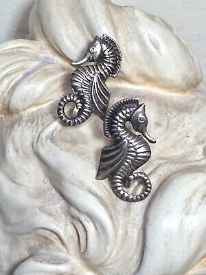 Darling Antique/Vintage Mexico Sterling Silver Seahorse Earrings