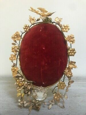 Decorative Antique French Red Velvet & Gilded Toleware Stand