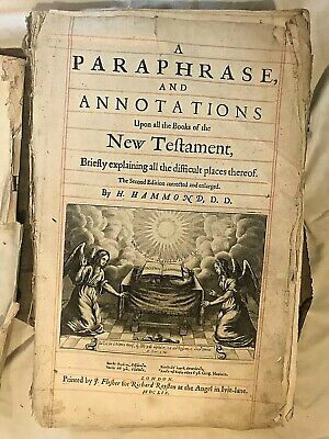 Antique Bible 17th Century Paraphrase & Annotations Testament Hammond Bible 1659