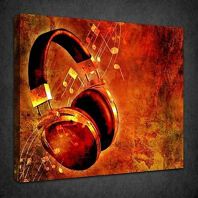 HEADPHONE MUSIC NOTES GRUNGE CANVAS PICTURE PRINT WALL ART  VARIETY OF SIZES