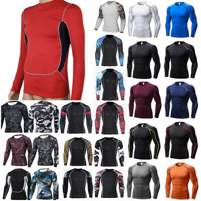 Mens Long Sleeve Gym Compression Thermal Shirt Fitness Base Layer Sport Tops Tee