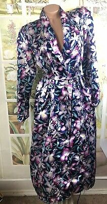 Vintage Kathryn Floral glossy slippery Satin Long Robe Sz S Small