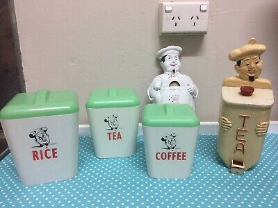 Vintage Gay Ware, Gayware Jolly Chef Kitchen Canisters Lot X 5 , 50s 60s Retro