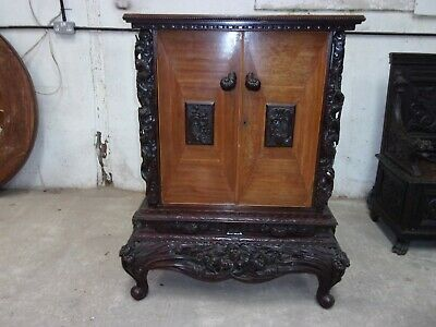 Stunning Chinese Dragon carved hardwood drinks cabinet MUST SEE