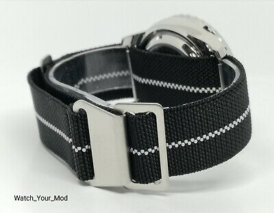 22mm French Troops Military style Watch Strap Black parachute elastic nato