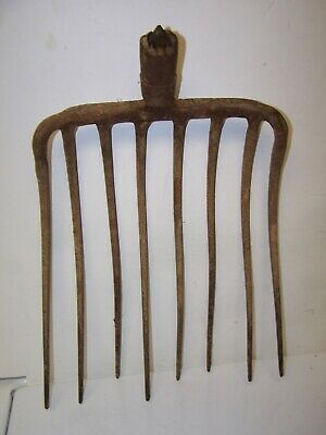 VINTAGE PITCHFORK 8 Tine Hay Manure Fork Farm Decor Tool Surgeon Spear