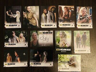 The Walking Dead Emily Kinney Autograph Card And Character Cards.