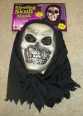 Skull Hooded Flexi Face Adult Mask Grim Reaper Scary Halloween