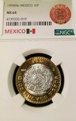1994 Mo MEXICO 10 PESOS SILVER CORE BI-METAL HIDALGO NGC MS 64 SCARCE COIN !!!