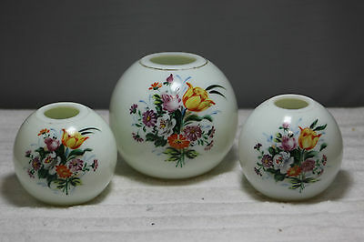 Czech Bohemian SIGNED Vintage Set of 3  Hand Painted Glass Vase Vases LOT