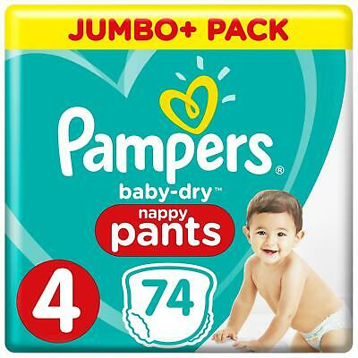 Pampers Baby-Dry Nappy Pants Disposable Cotton Nappies - Size 4 - Jumbo+ 74 Pack
