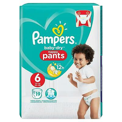 Pampers Baby-Dry Nappy Pants Disposable Cotton Nappies - Size 6 - Travel 19 Pack