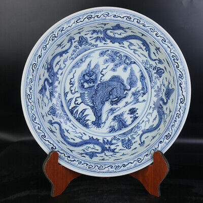 Nice Big Chinese Ming Xuan De Blue White Porcelain kylin Plate