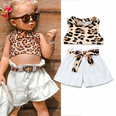 AU Newborn Baby Girl Leopard Sleeveless Top Shorts Pants 2Pcs Outfit Clothes Set